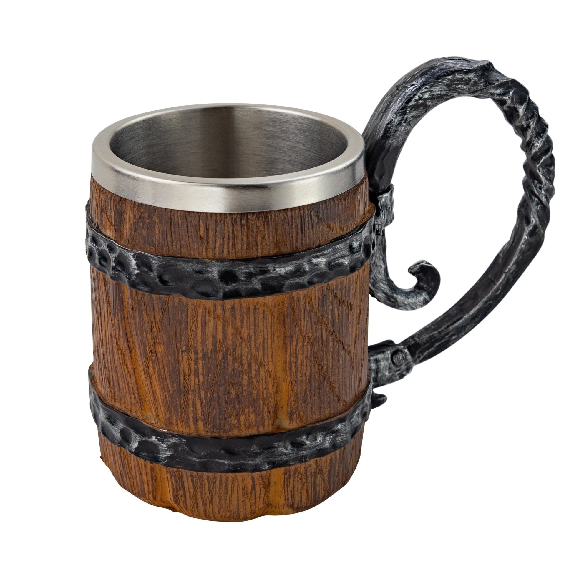 Rustic Wooden Barrel Resin Mug Large Handle Stainless Steel Insert - VikingsBrand