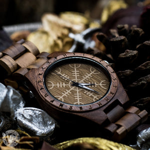 SALE! Bard Viking Wooden Runic Circle Watch with Helm of Awe Viking Symbol & Engraved Saying on the Back - VikingsBrand