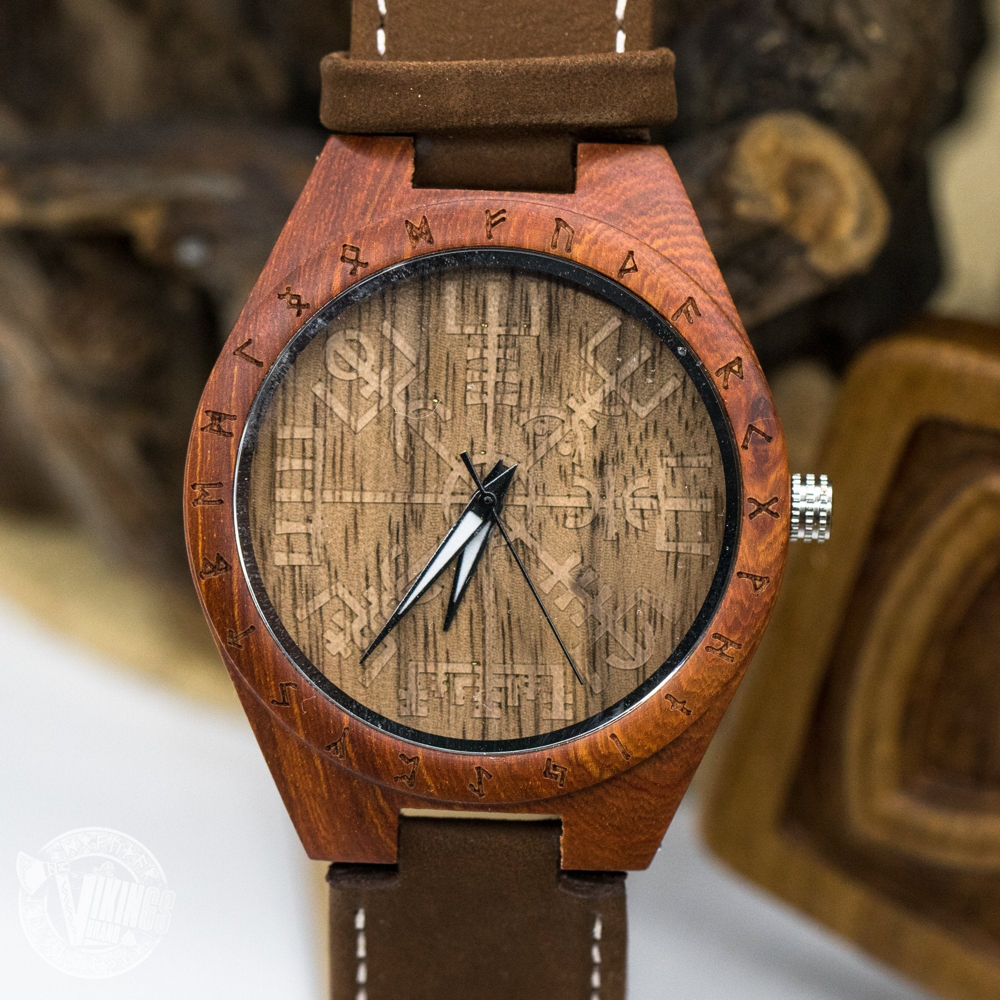SALE! Inge Viking Wooden Runic Circle Watch with Helm of Awe Viking Symbol & Engraved Saying on the Back - VikingsBrand