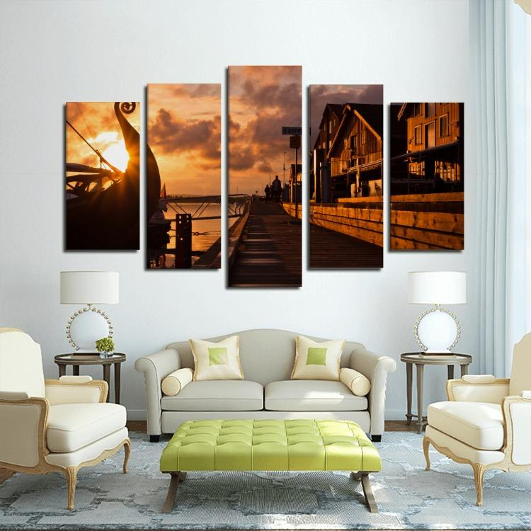 Seafront on the sunset with Viking ship 5 Panels Canvas Print - VikingsBrand