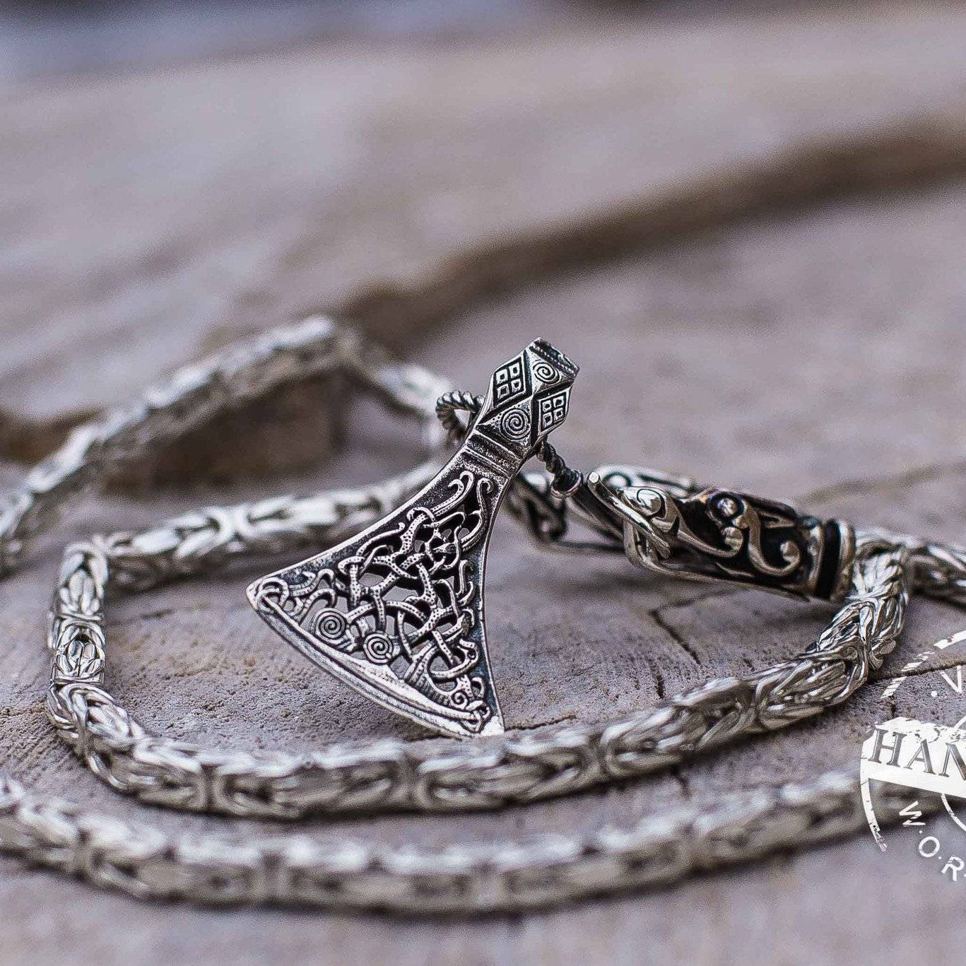 Set of Sterling Silver Square Viking Chain with Wolf Tips and Viking Axe Pendant - VikingsBrand