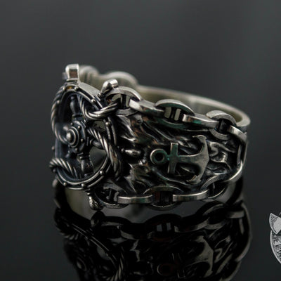 Ship Steering Wheel Symbol 925 Sterling Silver Viking Ring - VikingsBrand