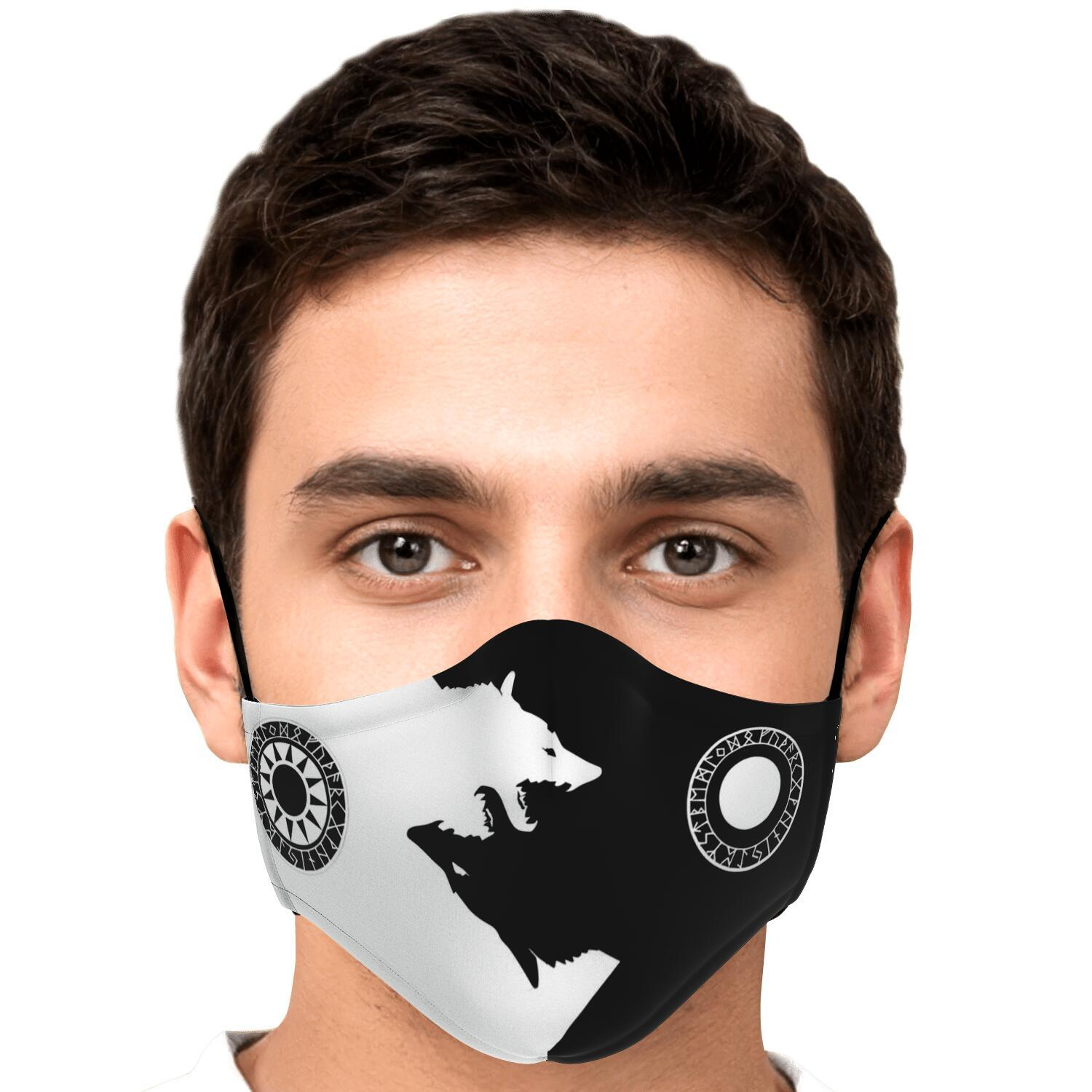 Sköll & Hati Viking Black & White Face Mask Cover