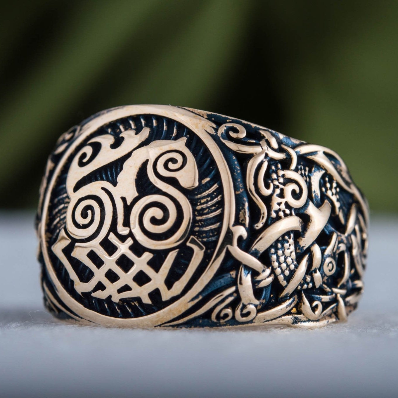 Sleipnir Ring with Mammen Ornament Handcrafted Bronze Viking Ring