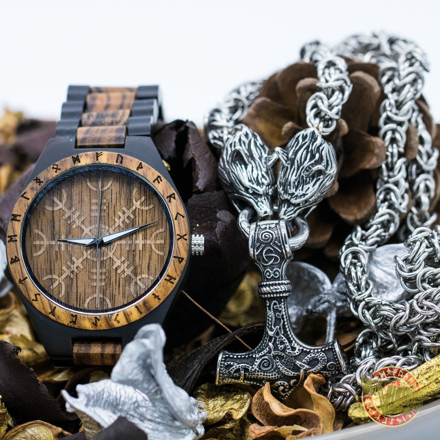 SPECIAL OFFER! Ivar Wooden Watch & Massive Chain Mjolnir Necklace - INSANE PRICE - VikingsBrand