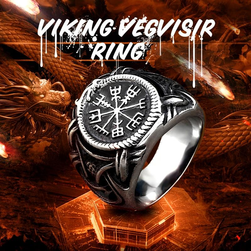 Stainless Steel Viking Vegvisir Ring - VikingsBrand