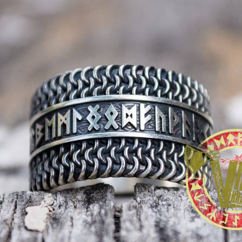 Sterling Silver Chainmail Ring with Runes