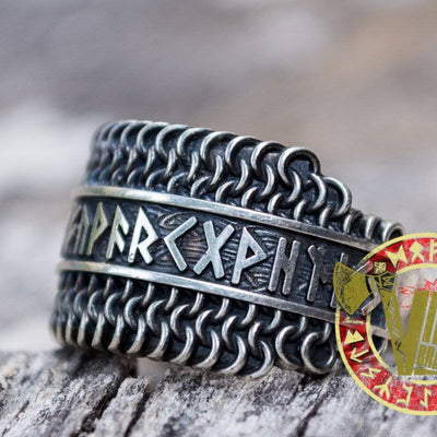 Sterling Silver Chainmail Ring with Runes - VikingsBrand