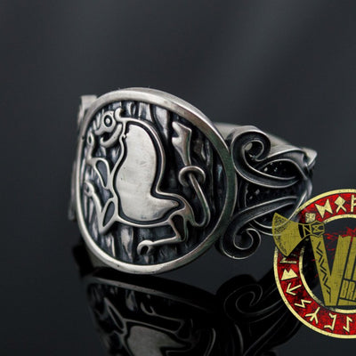 Sterling Silver Ring with Animal and Norse Ornament - VikingsBrand