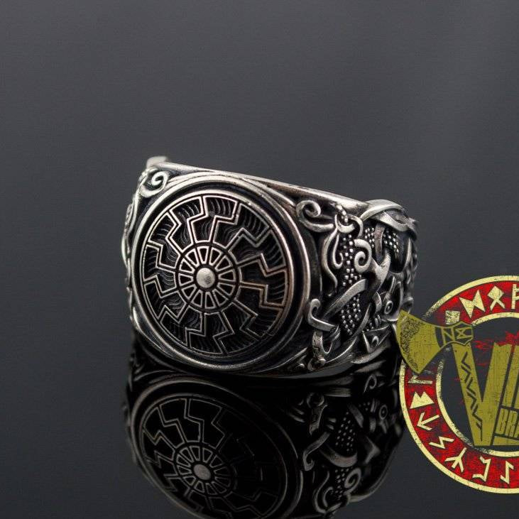 Sterling Silver Ring with Black Sun Symbol and Mammen Ornament - VikingsBrand