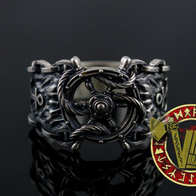 Sterling Silver Ring with Handwheel with Anchor and Chain - VikingsBrand