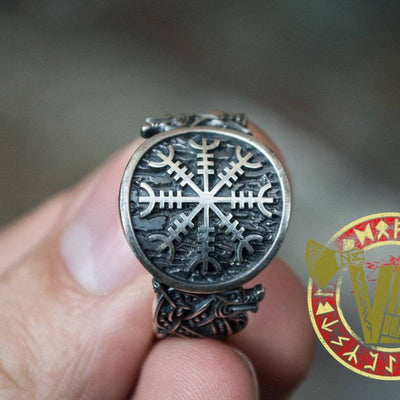 Sterling Silver Ring with Helm of Awe Symbol and Norse Ornament - VikingsBrand