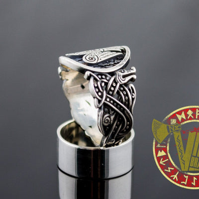 Sterling Silver Ring with Raven Symbol and Norse Ornament - VikingsBrand