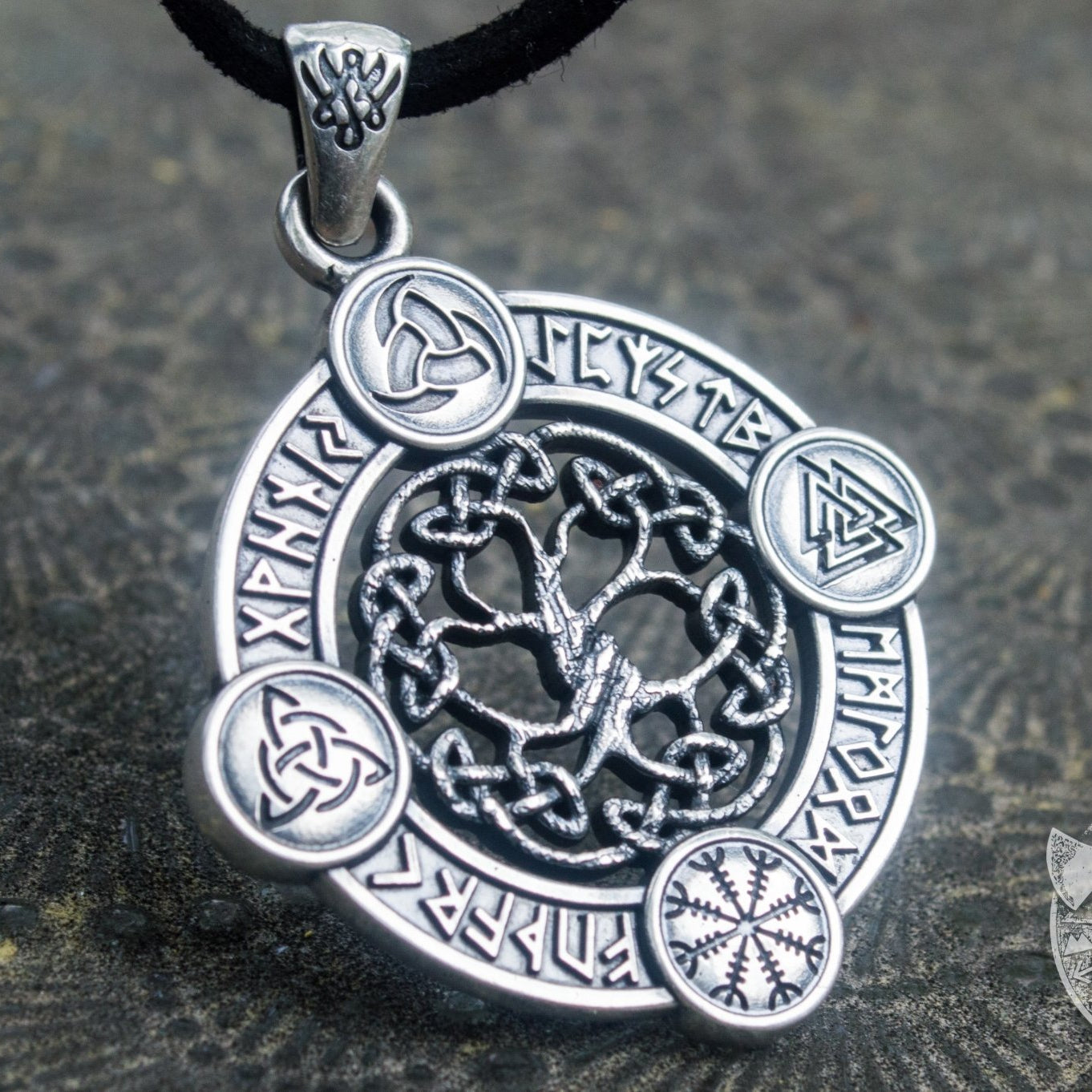 The World Tree 925 Symbols Sterling Pendant - VikingsBrand