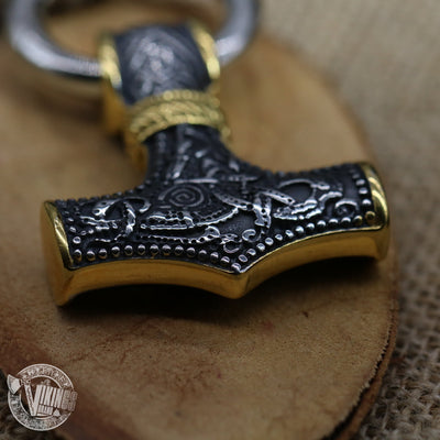 Thor Hammer Mixed Gold Surgical Steel Pendant Necklace - VikingsBrand