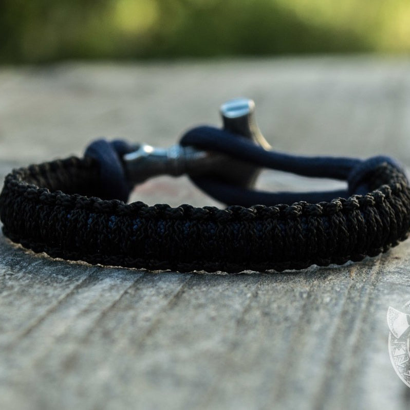 Thors Hammer Dark Blue with Black Paracord 925 Sterling Silver Bracelet - VikingsBrand