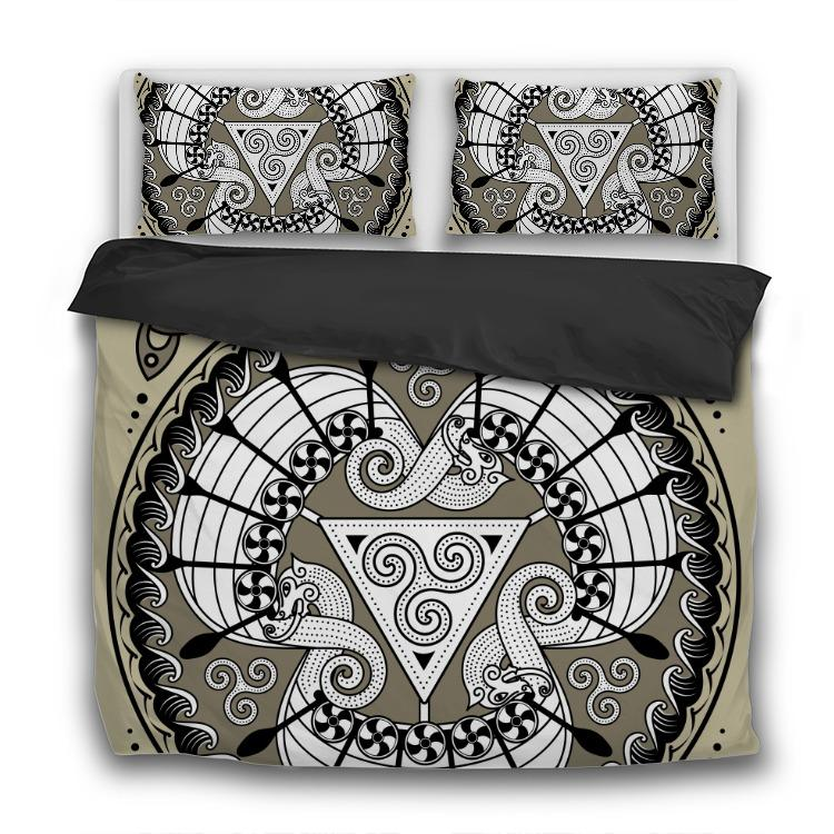 Three Drakkars - 3 Pcs Bedding Sets - VikingsBrand