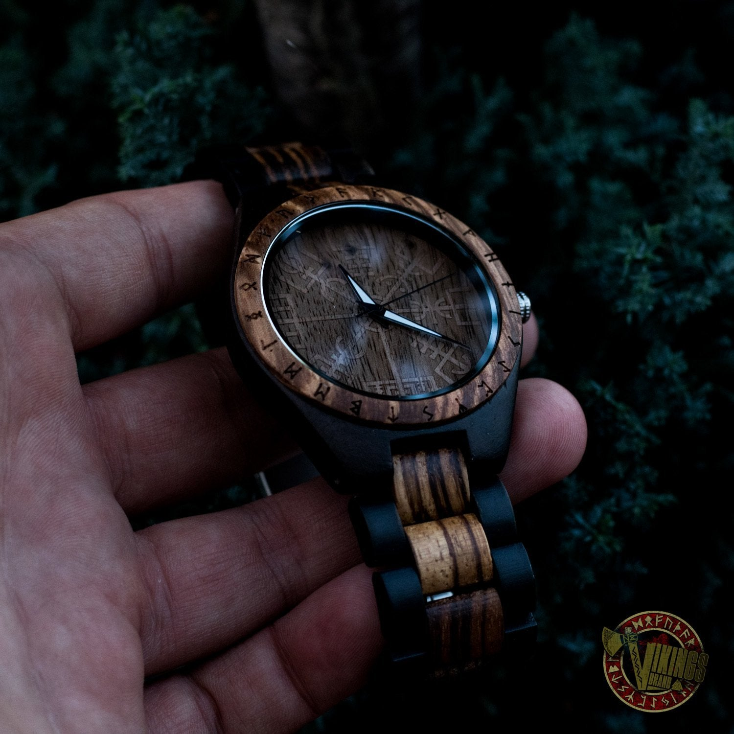 Ulf Viking Wooden Watch with Vegvisir Viking Symbol & Engraved Honor the Gods, Love Your Woman, Defend Your Kin Saying