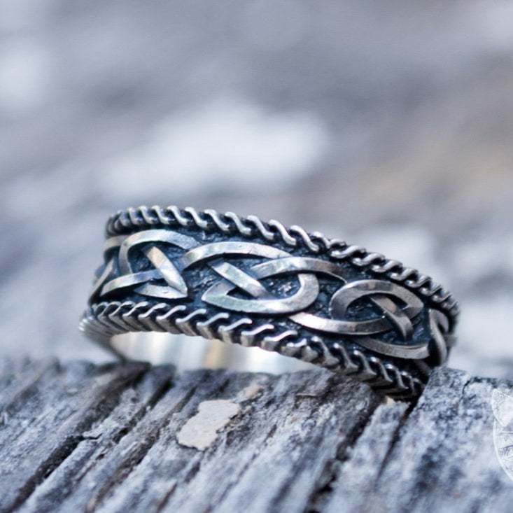 Unique Norse Ornament 925 Sterling Silver Viking Ring - VikingsBrand