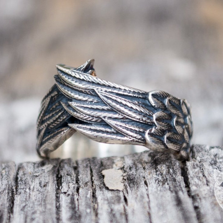Unique Raven Feathers 925 Sterling Silver Viking Ring