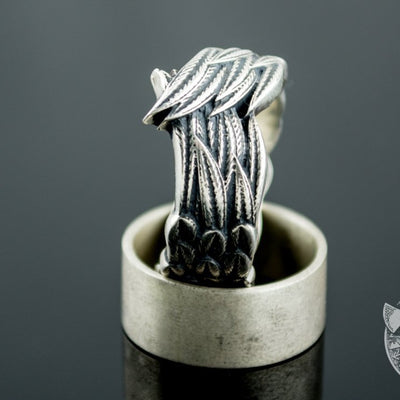 Unique Raven Feathers 925 Sterling Silver Viking Ring - VikingsBrand