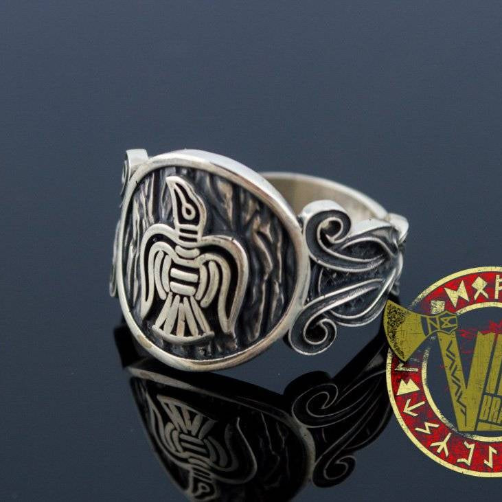 Unique Raven Ring with Norse Ornament - VikingsBrand