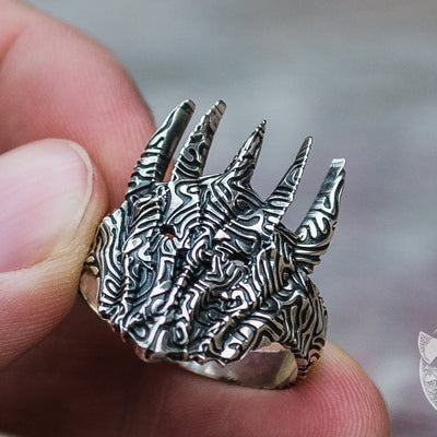 Unique Sauron Helmet 925 Sterling Silver Viking Ring - VikingsBrand