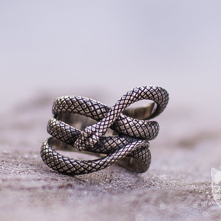 Unique Snake Shape 925 Sterling Silver Viking Ring