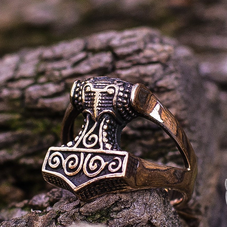 Unique Thor's Hammer Bronze Viking Ring