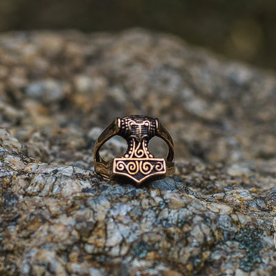 Unique Thor's Hammer Bronze Viking Ring - VikingsBrand