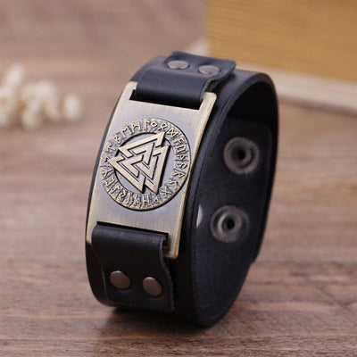 Valknut Leather Bracelet - VikingsBrand