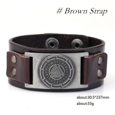 Valknut Leather Bracelet - Art. 115 - VikingsBrand