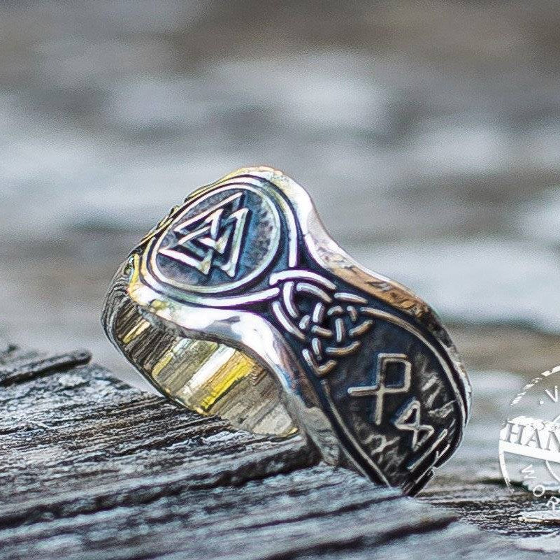 Valknut Ring With HAIL ODIN Runes - VikingsBrand