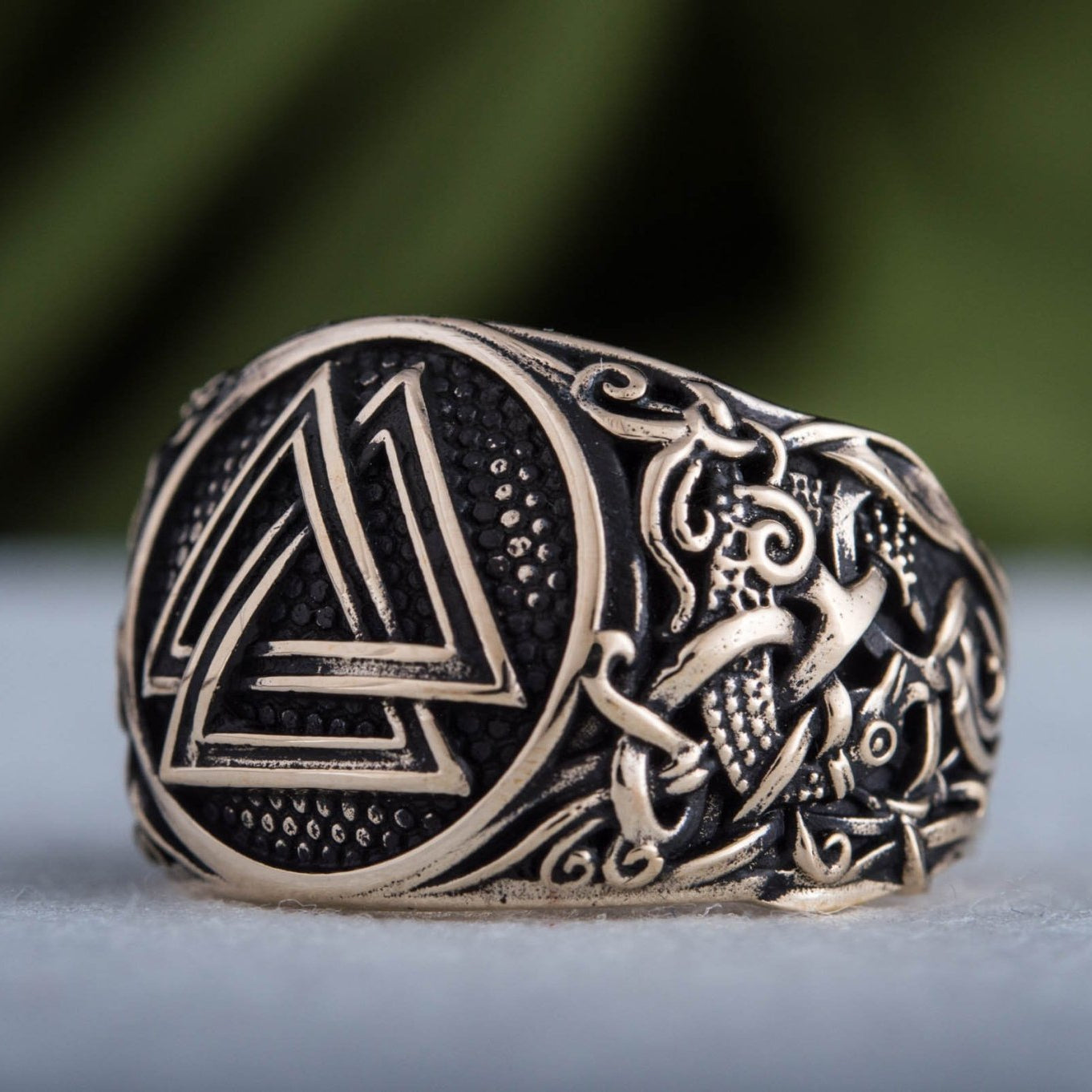 Valknut Ring with Mammen Ornament Handcrafted Bronze Viking Ring