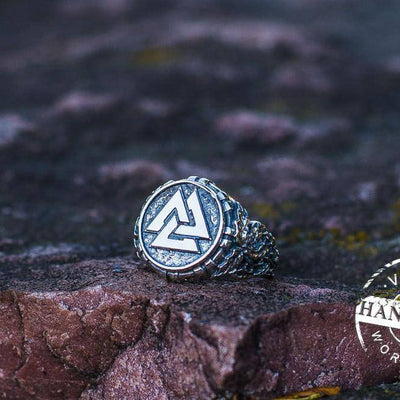 Valknut Ring with Oak Leaves | Handcrafted Sterling Silver Viking Jewelry | Norse Jewelry - VikingsBrand