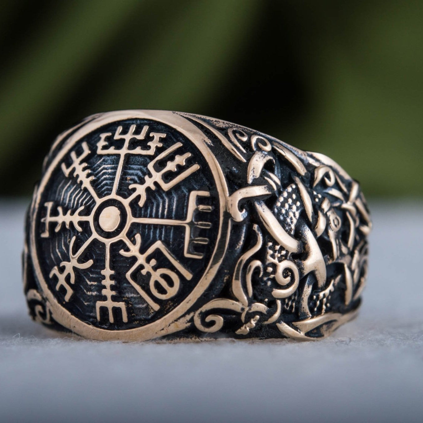Vegvisir Symbol with Mammen Style Handcrafted Bronze Viking Ring
