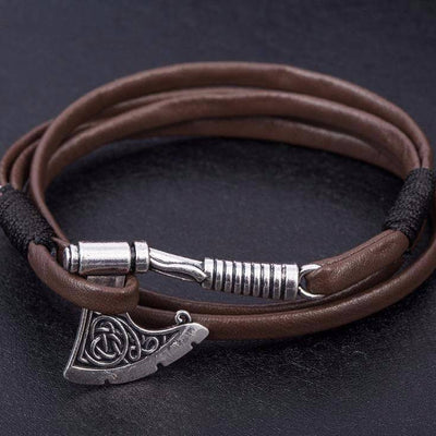Viking Axe Leather Bracelet - VikingsBrand