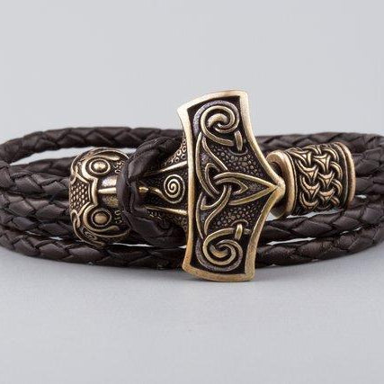 Viking Bracelet with Thor's Hammer and Scandinavian Bead - VikingsBrand