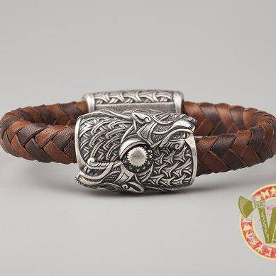 Viking Bracelet with Wolves Skoll and Hati  (001-166) - VikingsBrand