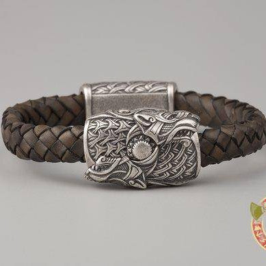 Viking Bracelet Wolves Skoll and Hati (001-168) - VikingsBrand