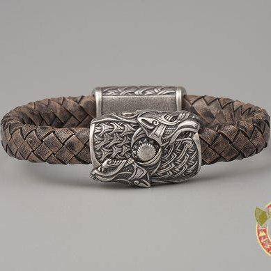 Viking Bracelet Wolves Skoll and Hati (001-170) - VikingsBrand