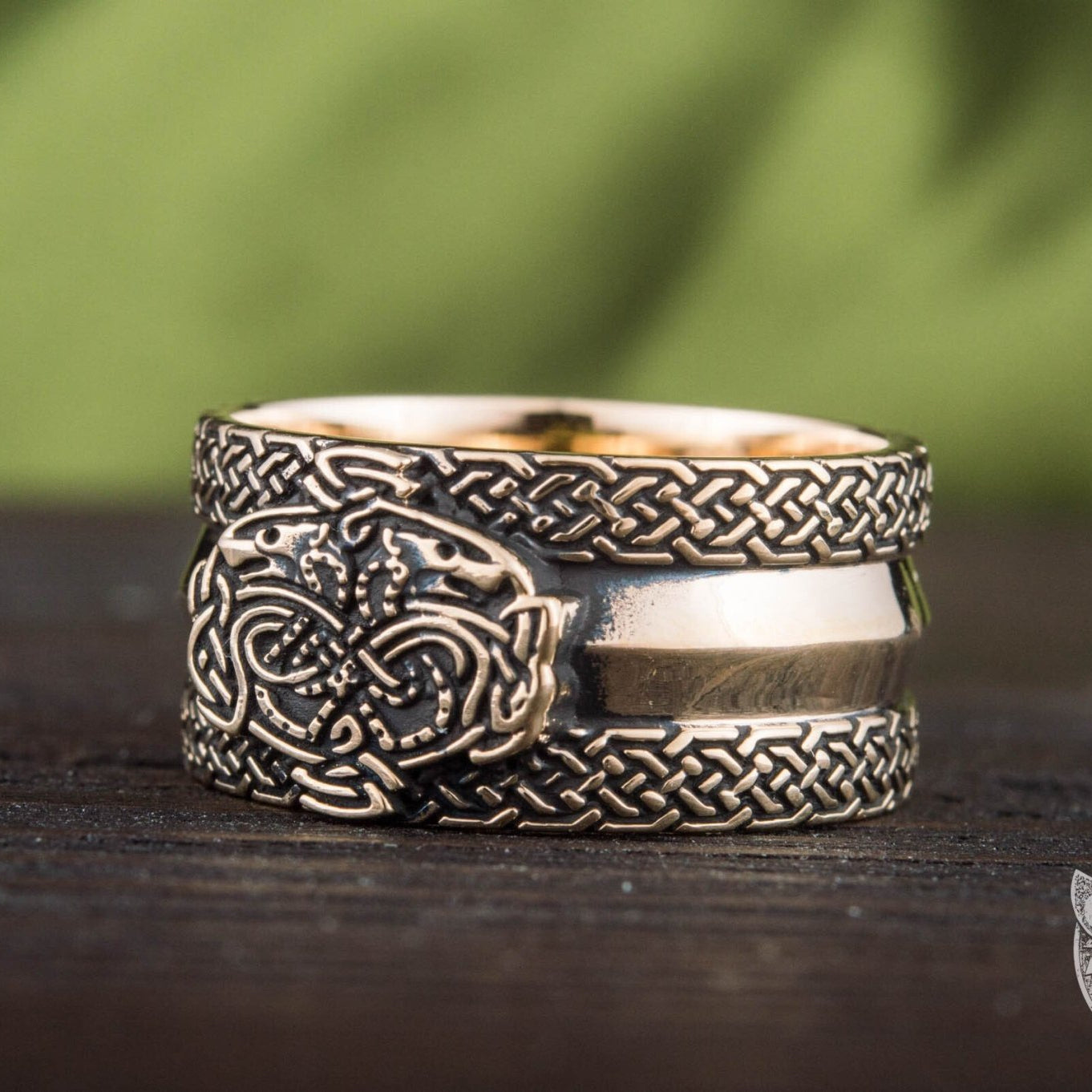 Viking Bronze Ring with Wolves and Norse Ornaments