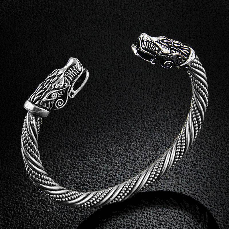 Viking Cuff Bracelet with Wolf Head