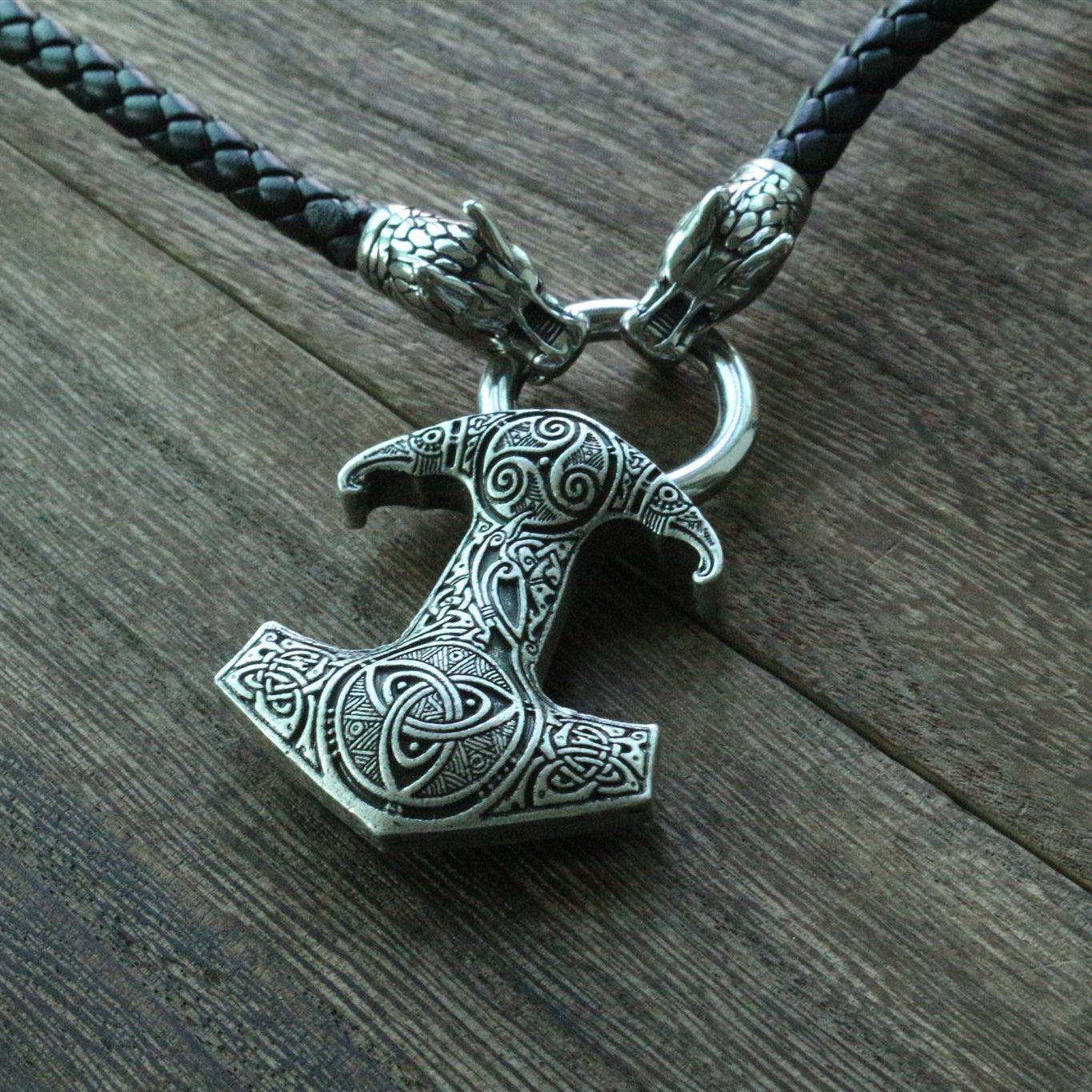 Viking Dragon Head Necklace with Thor's Hammer Pendant - VikingsBrand