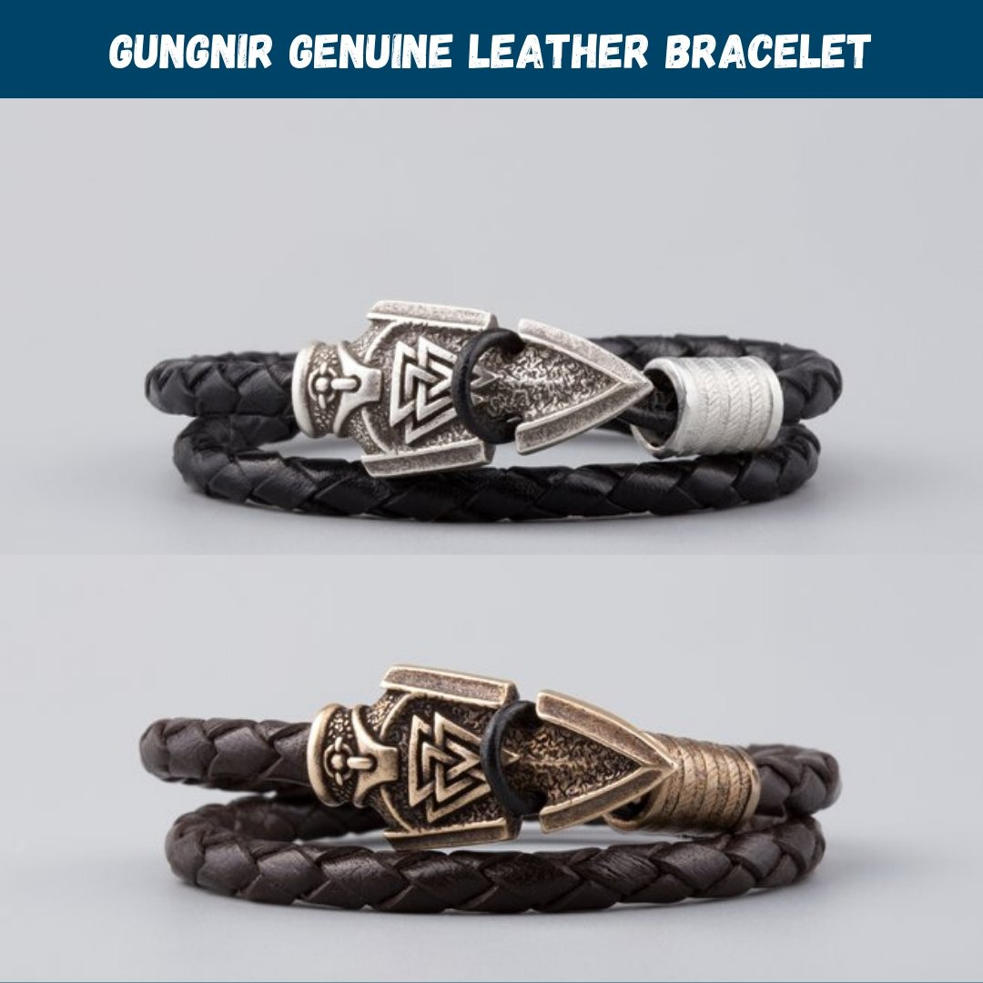 Viking Genuine Leather Bracelet with Odin's Spear Gungnir - VikingsBrand