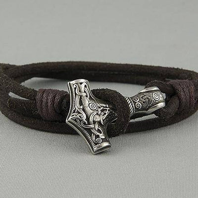 Viking Genuine Leather Thor Hammer Bracelet - VikingsBrand