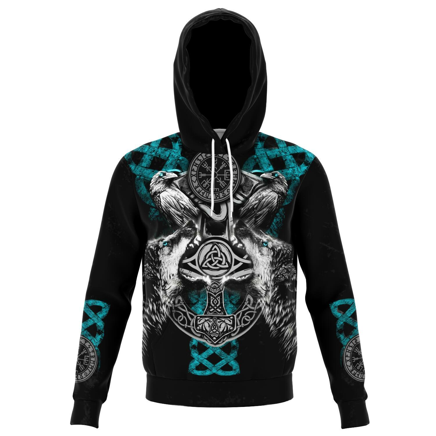 Viking Hoodie with Wolves and Ravens