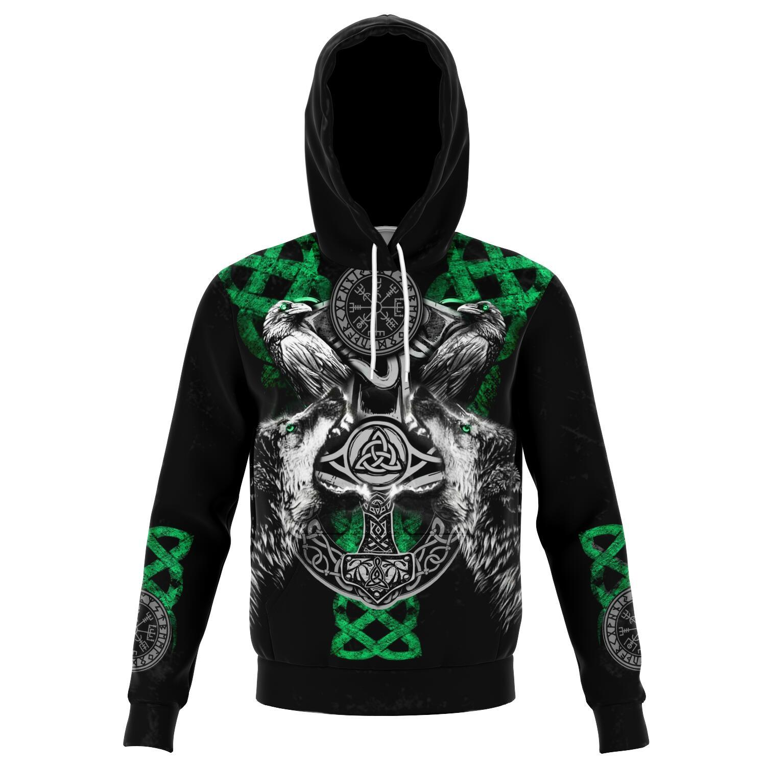Viking Hoodie with Wolves and Ravens - Green