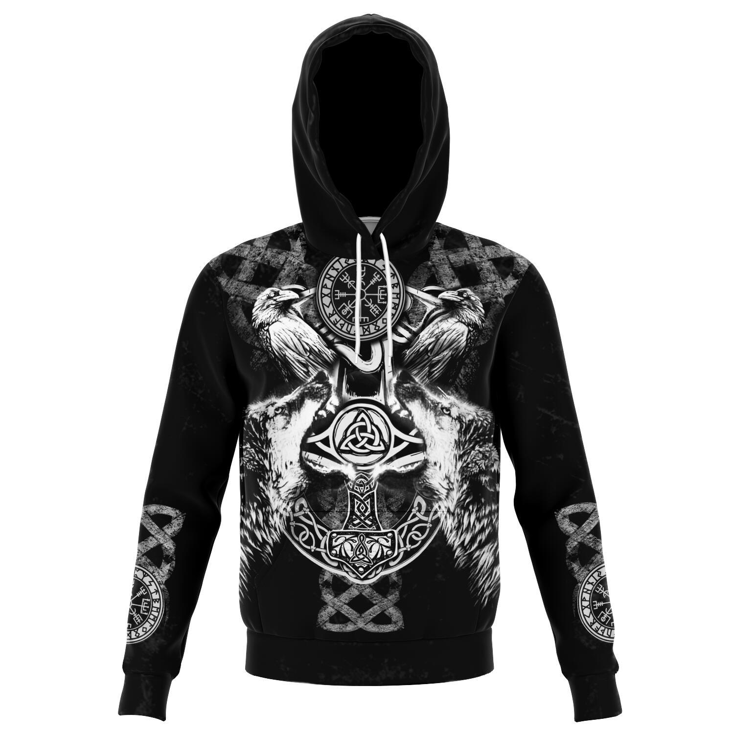 Viking Hoodie with Wolves and Ravens - Grey