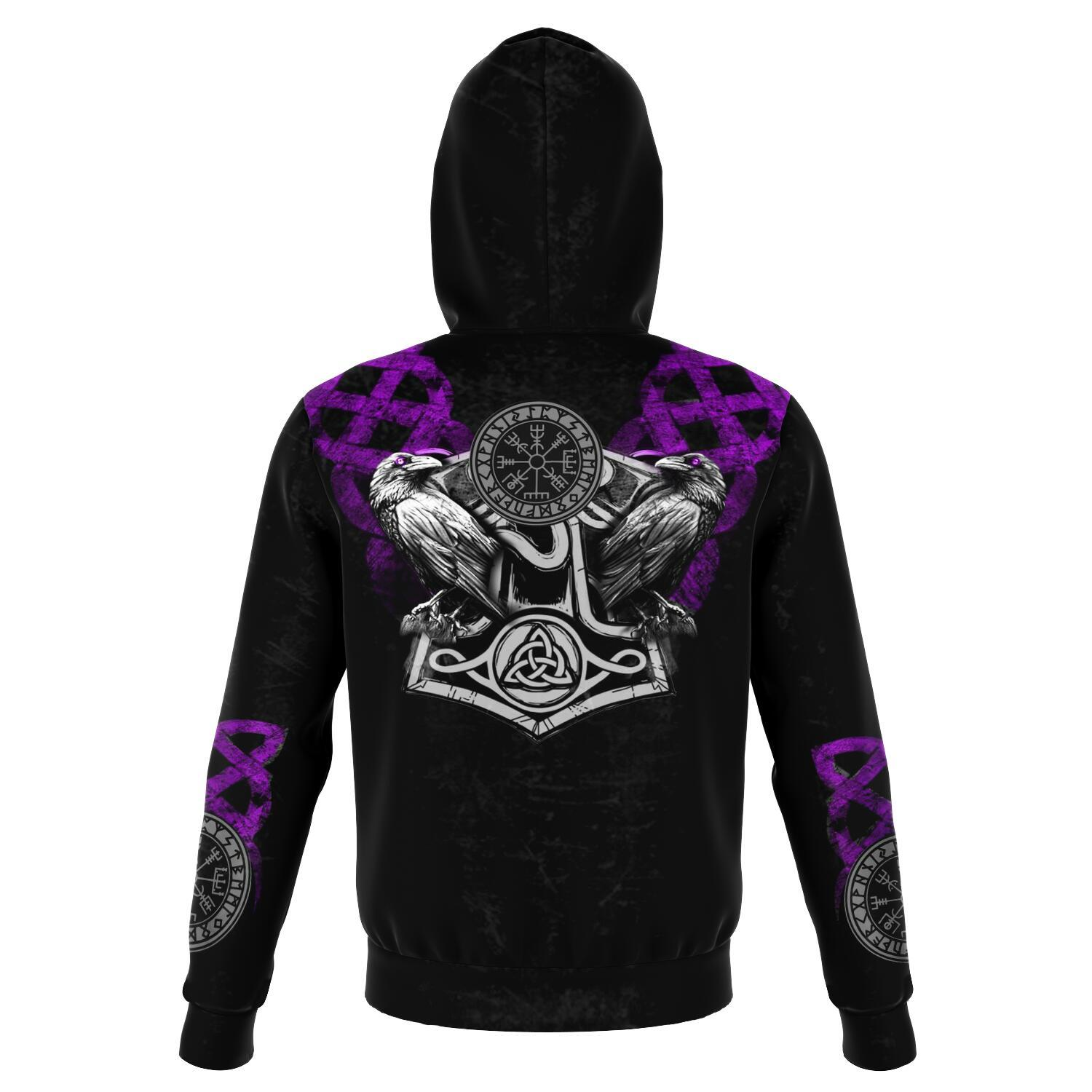 Viking Hoodie with Wolves and Ravens - Purple